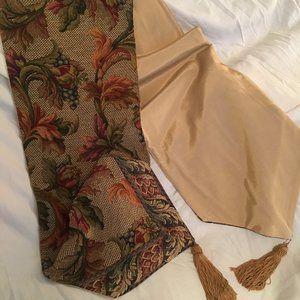Vintage Tapestry Table Runner w/Tassels